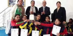 Palak, Mansi, Loveleen Kaur, Komal (from class XI), Aayushi (class X) (from Left to
